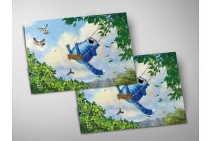 Почтовая открытка «Июнь», синие коты, Ирина Зенюк