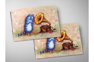 Почтовая открытка «Ласковый май», синие коты, Ирина Зенюк