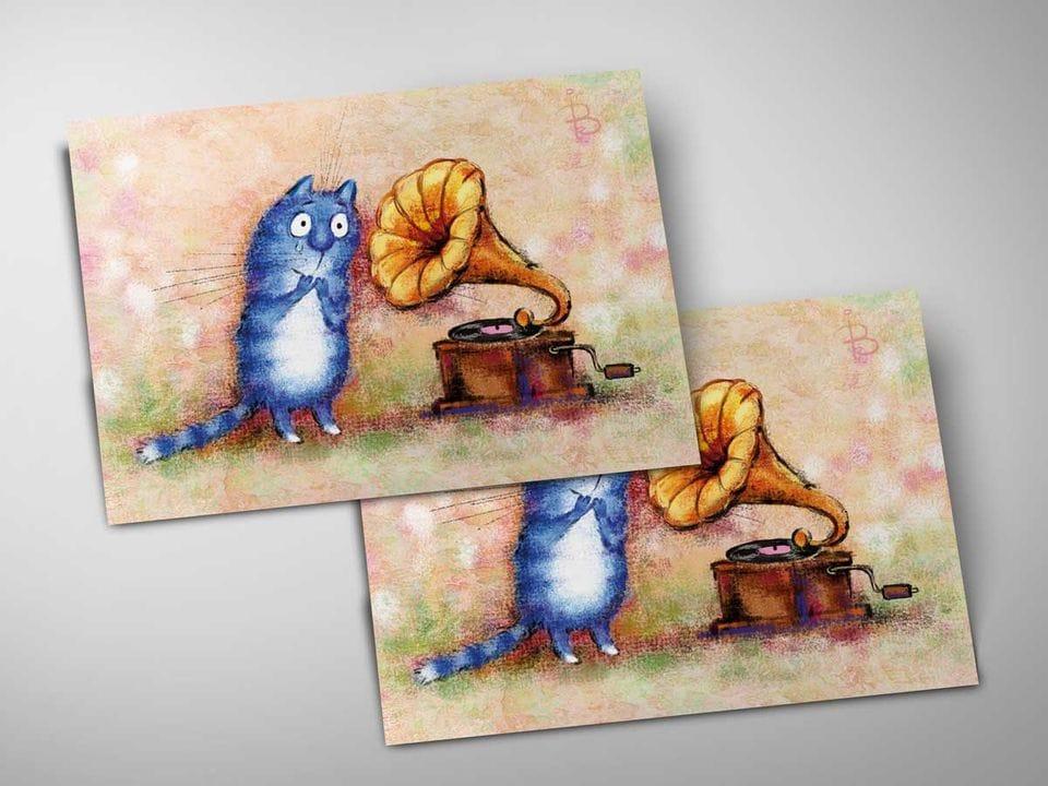 Открытка почтовая «Ласковый май», из коллекции Ирины Зенюк «Синие коты»