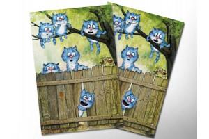 Почтовая открытка «На заборе», синие коты, Ирина Зенюк