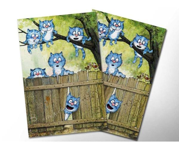 Почтовая открытка «На заборе», из коллекции Ирины Зенюк «Синие коты»
