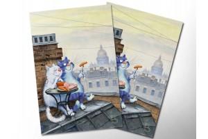 Почтовая открытка «Романтический ужин», синие коты, Ирина Зенюк