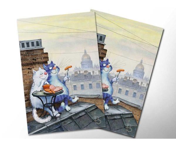 Почтовая открытка «Романтический ужин», из коллекции Ирины Зенюк «Синие коты»