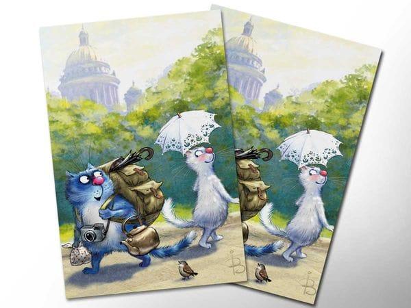Почтовая открытка «Кототурист», синие коты, Ирина Зенюк