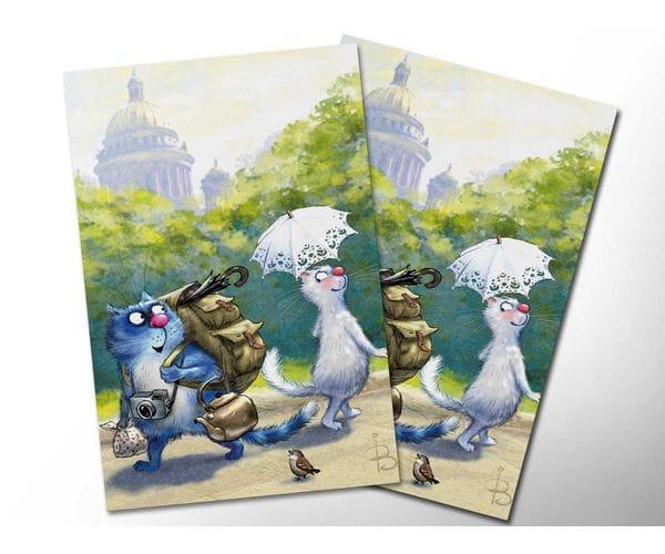Почтовая открытка «Кототурист», из коллекции Ирины Зенюк «Синие коты»