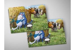 Почтовая открытка «Синий платочек», синие коты, Ирина Зенюк