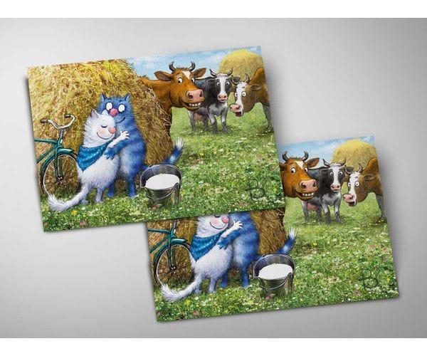 Почтовая открытка «Синий платочек», из коллекции Ирины Зенюк «Синие коты»