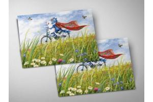 Почтовая открытка «Сhanson d'amour», синие коты, Ирина Зенюк