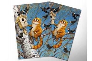 Почтовая открытка «Птицелюб», синие коты, Ирина Зенюк