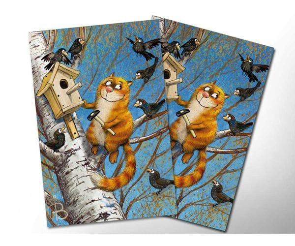 Почтовая открытка «Птицелюб», из коллекции Ирины Зенюк «Синие коты»