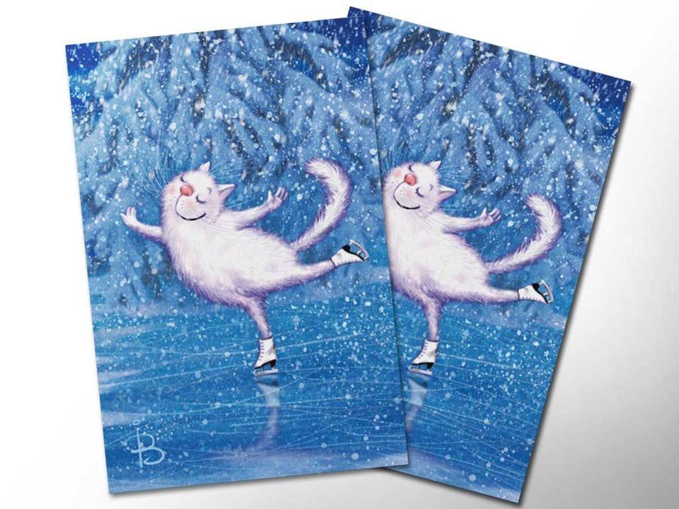 Почтовая открытка «Белая лебедь», из коллекции Ирины Зенюк «Синие коты»