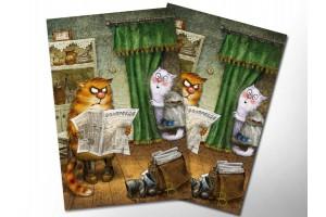Почтовая открытка «Правда», синие коты, Ирина Зенюк
