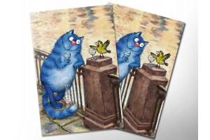 Почтовая открытка «Чижик-Пыжик», синие коты, Ирина Зенюк