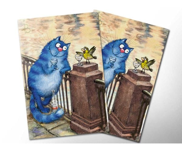 Почтовая открытка «Чижик-Пыжик», из коллекции Ирины Зенюк «Синие коты»