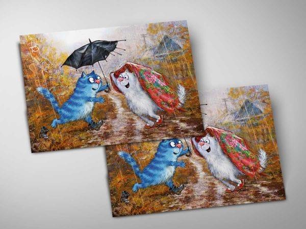 Почтовая открытка «Зонтик», синие коты, Ирина Зенюк
