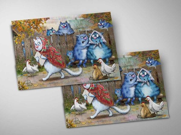 Почтовая открытка «Сплетни», синие коты, Ирина Зенюк