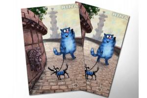Почтовая открытка «Прогулка», синие коты, Ирина Зенюк