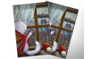 Почтовая открытка «Сбегают капли по стеклу», синие коты, Ирина Зенюк