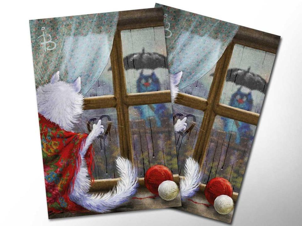 Открытка почтовая «Сбегают капли по стеклу», из коллекции Ирины Зенюк «Синие коты»