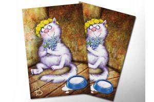 Почтовая открытка «Не забуду», синие коты, Ирина Зенюк
