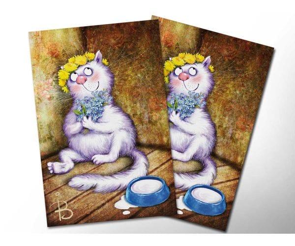 Почтовая открытка «Не забуду», из коллекции Ирины Зенюк «Синие коты»