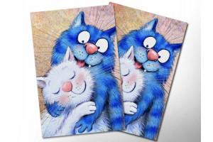 Почтовая открытка «Нежность», синие коты, Ирина Зенюк