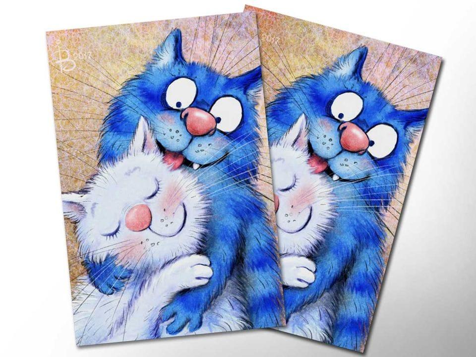 Почтовая открытка «Нежность», из коллекции Ирины Зенюк «Синие коты»