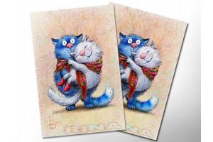 Почтовая открытка «Лямур», синие коты, Ирина Зенюк