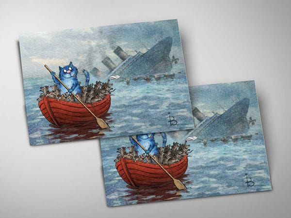 Почтовая открытка «Титаник», синие коты, Ирина Зенюк