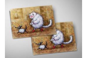 Почтовая открытка «Дама с собачкой», синие коты, Ирина Зенюк