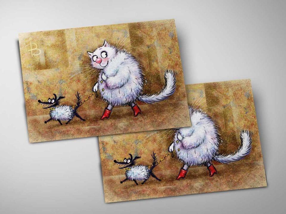 Почтовая открытка «Дама с собачкой», из коллекции Ирины Зенюк «Синие коты»