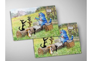 Почтовая открытка «Обед», синие коты, Ирина Зенюк