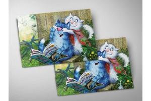 Почтовая открытка «Угадай», синие коты, Ирина Зенюк