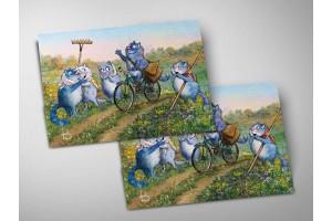 Почтовая открытка «Первый парень», синие коты, Ирина Зенюк