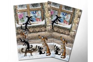 Почтовая открытка «Под окном», синие коты, Ирина Зенюк