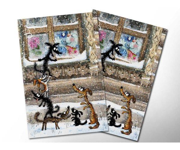 Почтовая открытка «Под окном», из коллекции Ирины Зенюк «Синие коты»