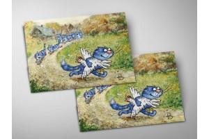 Почтовая открытка «Погоня», синие коты, Ирина Зенюк