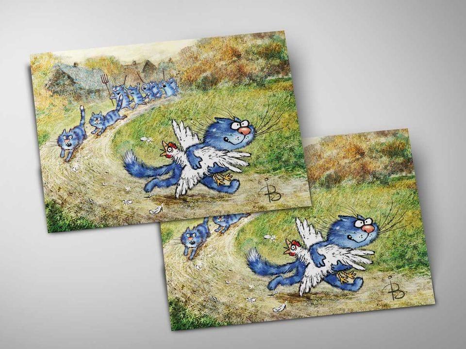 Почтовая открытка «Погоня», из коллекции Ирины Зенюк «Синие коты»