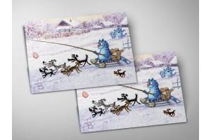 Почтовая открытка «Упряжка», синие коты, Ирина Зенюк