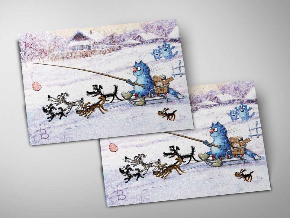 Почтовая открытка «Упряжка», из коллекции Ирины Зенюк «Синие коты»