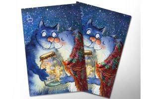 Почтовая открытка «Подарок», синие коты, Ирина Зенюк