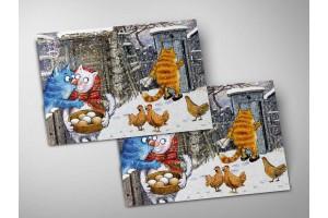 Почтовая открытка «Поцелуй украдкой», синие коты, Ирина Зенюк