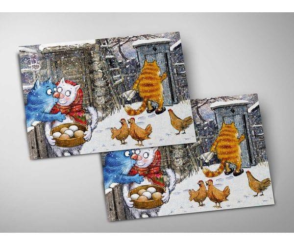 Почтовая открытка «Поцелуй украдкой», из коллекции Ирины Зенюк «Синие коты»