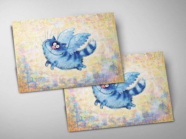 Почтовая открытка «Ангел», синие коты, Ирина Зенюк