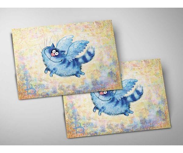 Почтовая открытка «Ангел», из коллекции Ирины Зенюк «Синие коты»