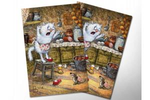 Почтовая открытка «Мышь», синие коты, Ирина Зенюк