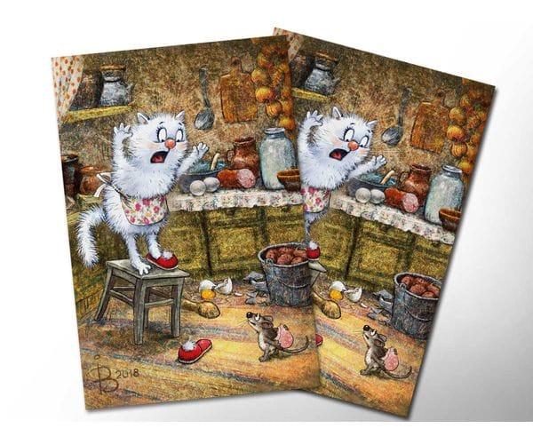 Почтовая открытка «Мышь», из коллекции Ирины Зенюк «Синие коты»