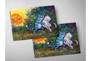 Почтовая открытка «Однажды на закате», синие коты, Ирина Зенюк