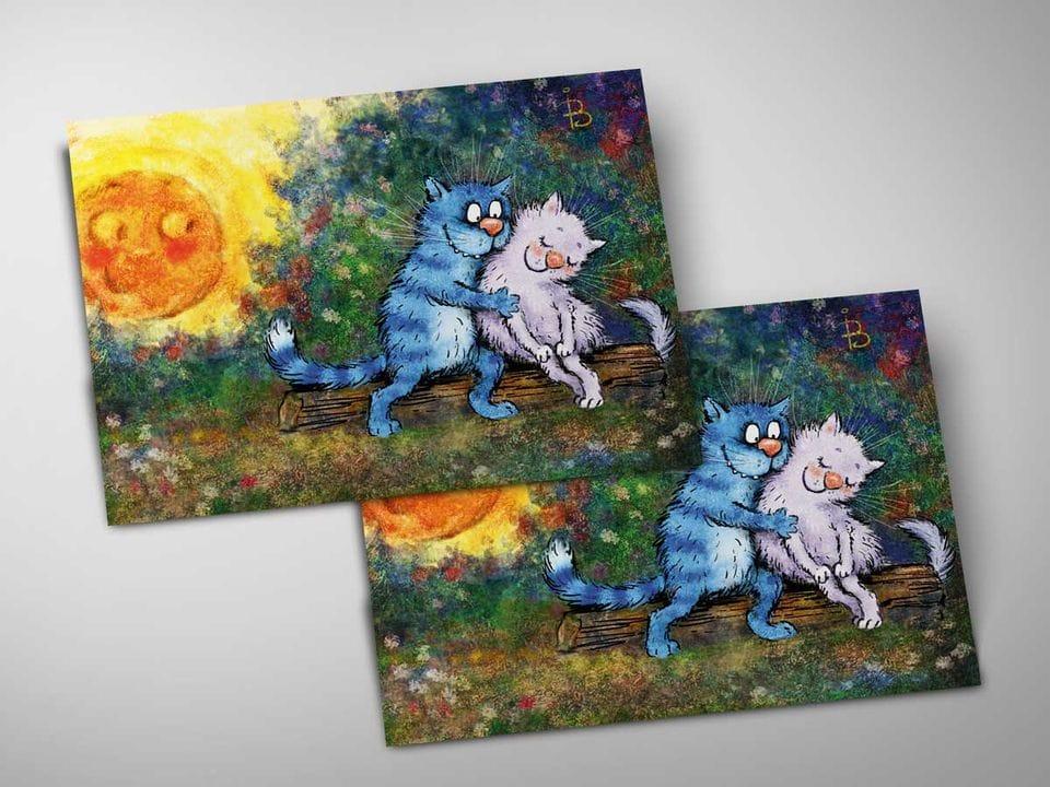 Почтовая открытка «Однажды на закате», из коллекции Ирины Зенюк «Синие коты»
