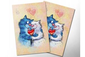 Почтовая открытка «14 февраля», синие коты, Ирина Зенюк